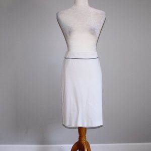 Escada Knit Pencil Skirt with Piping White Size 40
